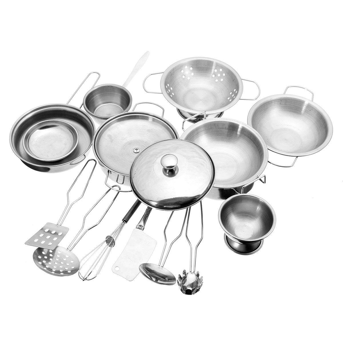 16 pcs Cuisine En Acier Inoxydable Ustensiles De Cuisine Pots Casseroles Alimentaire Cadeau Miniature Cuisine Cuire Outils Simulation Jouer Jouets Maison