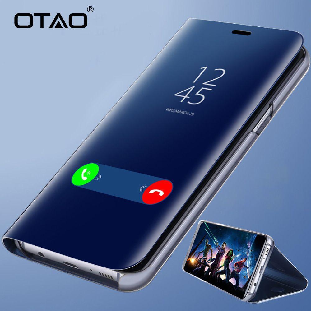 OTAO Clear View Smart Mirror Phone Case For Xiaomi Redmi 5 Plus Note 5 5A 4X Flip Cases For Xiaomi 8 SE 6 6X Leather Back Cover