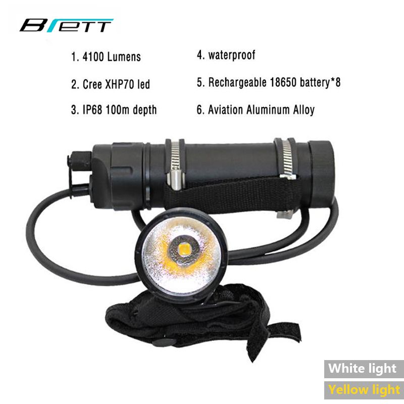 Diving flashlight led CREE XHP70 White or yellow light optional Professional diving equipment Split wrist led light