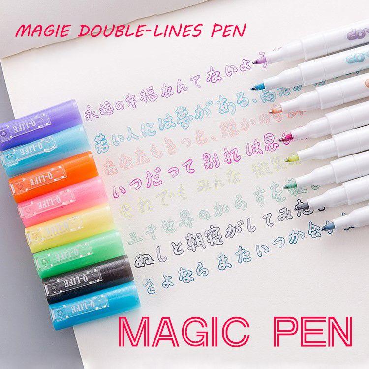Andstal Double Lines Art Markers Pen Out Line Pen Fine Liner Marker Fineliner Calligraphy Lettering Pen Color Scrapbooking Pens