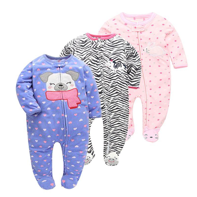 Nouveau 2019 Automne Printemps Bébé barboteuses Manches Longues Nouveau-Né Garçon Filles laine polaire combinaison pour bébé vêtements pour bébé 9-24 m