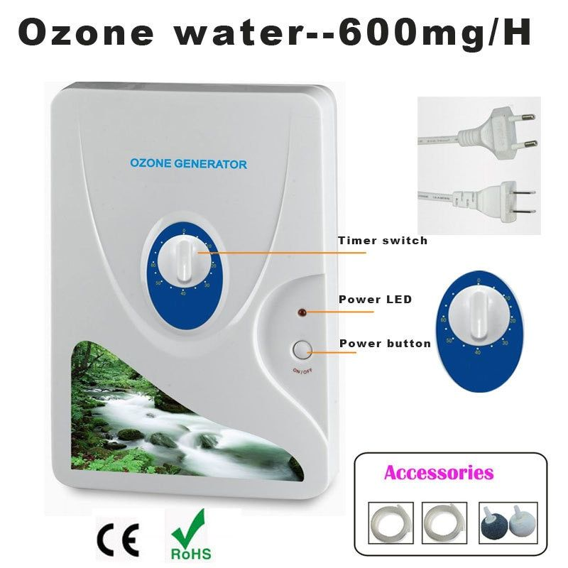 1 pc 600 mg générateur d'ozone purificateur d'air ozoniseur Ozonizador Ozone Ozono concentrateur d'oxygène Portable purification de l'eau stérilisation