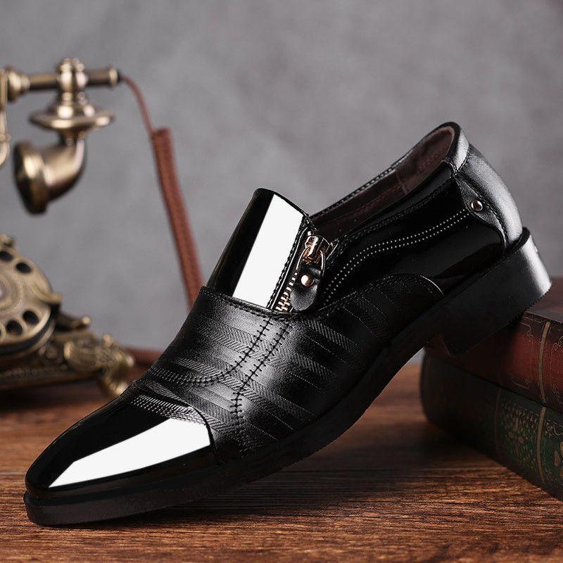 REETENE mode affaires robe hommes chaussures 2019 nouveau classique en cuir hommes costumes chaussures mode sans lacet robe chaussures hommes Oxfords