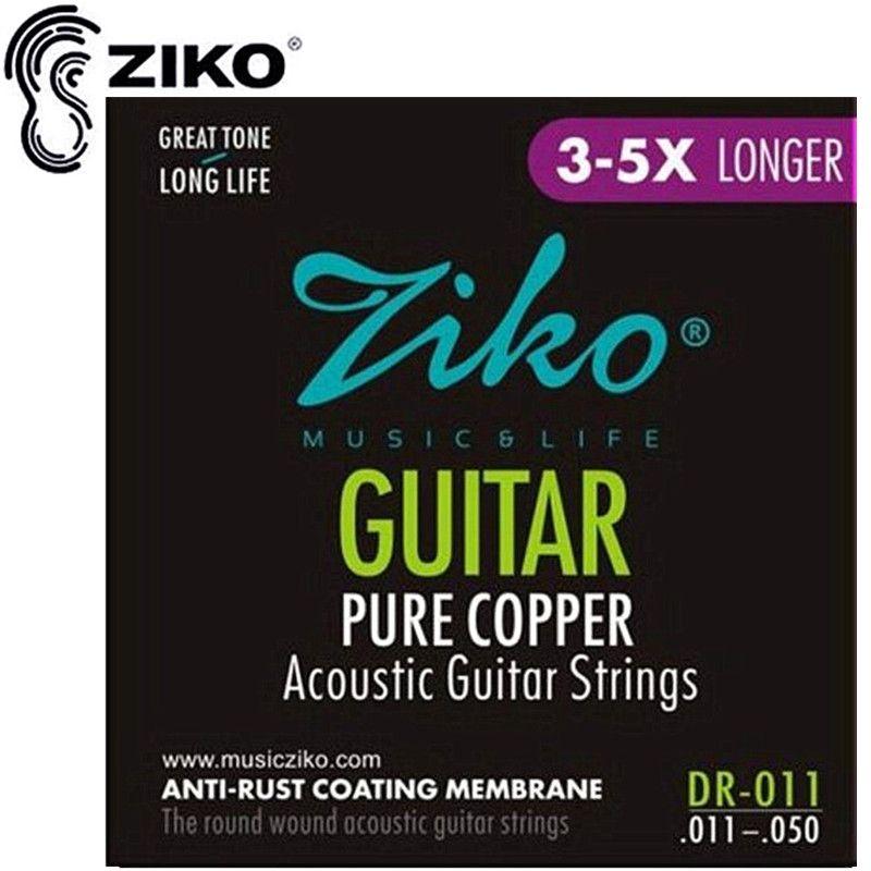 ZIKO 011-050 DR-011 cordes de guitare acoustique pur cuivre ANTI-rouille cordes accessoires d'instruments de musique