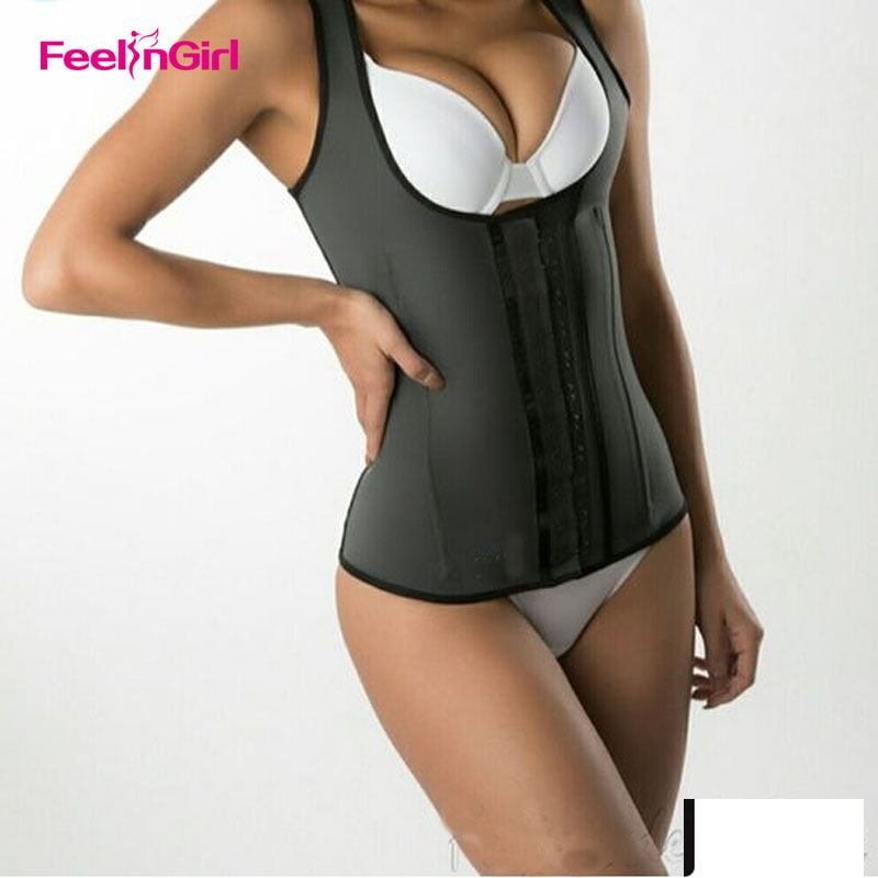 FeelinGirl Latex Waist Cincher Vest Chest Binder Body Shaper For Women Corset Slimming Plus Size 6XL Push Up Waist Trainer