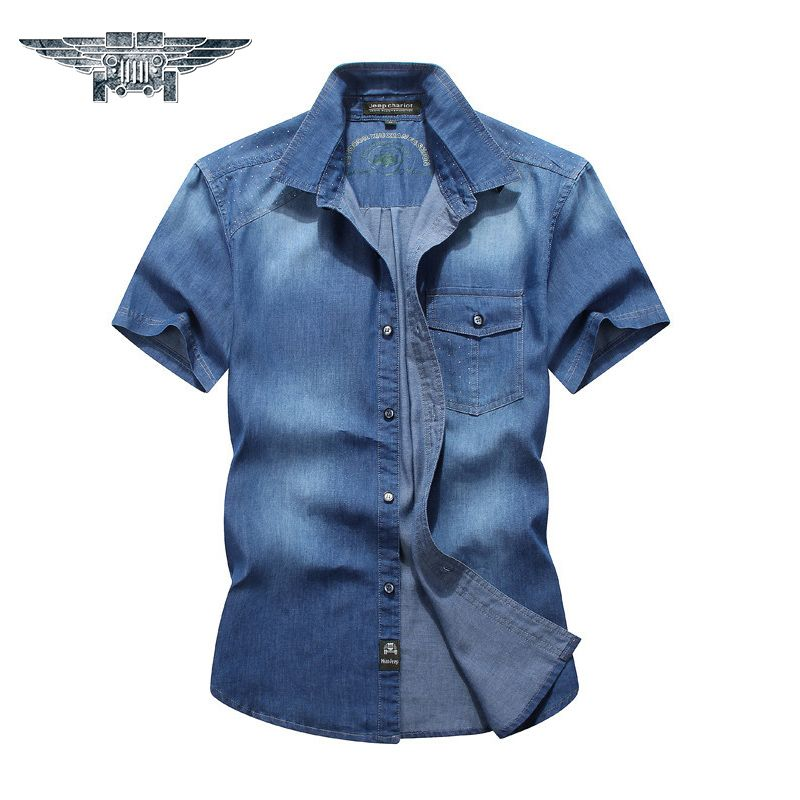 2018 neuen Mens-hemden Kurzarm Baumwolle Herren Casual Shirts Solide Umlegekragen Denim Farbe Mens Dress Shirts #1692