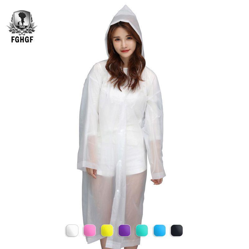 FGHGF EVA Transparent Reusable Women Men Raincoat Poncho Waterproof Impermeable Plastic Rain Coat Cover Camping Rainwear
