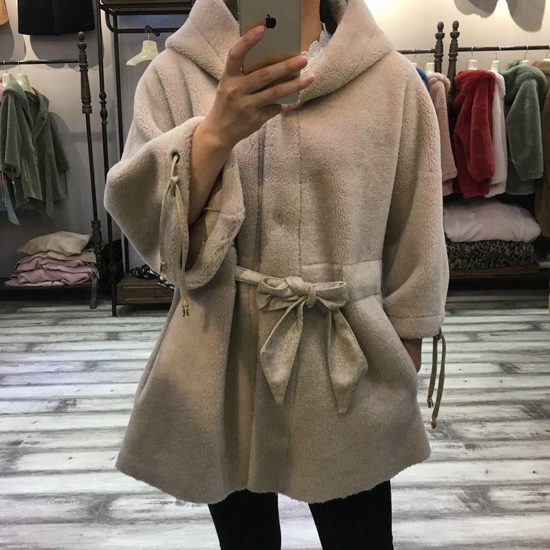 Frauen echt pelzmantel schafschur 2018 Winter Dame Warme Natürliche Schafe Lamm Wolle Pelz jacke Hoody und gürtel Weibliche mode tuch