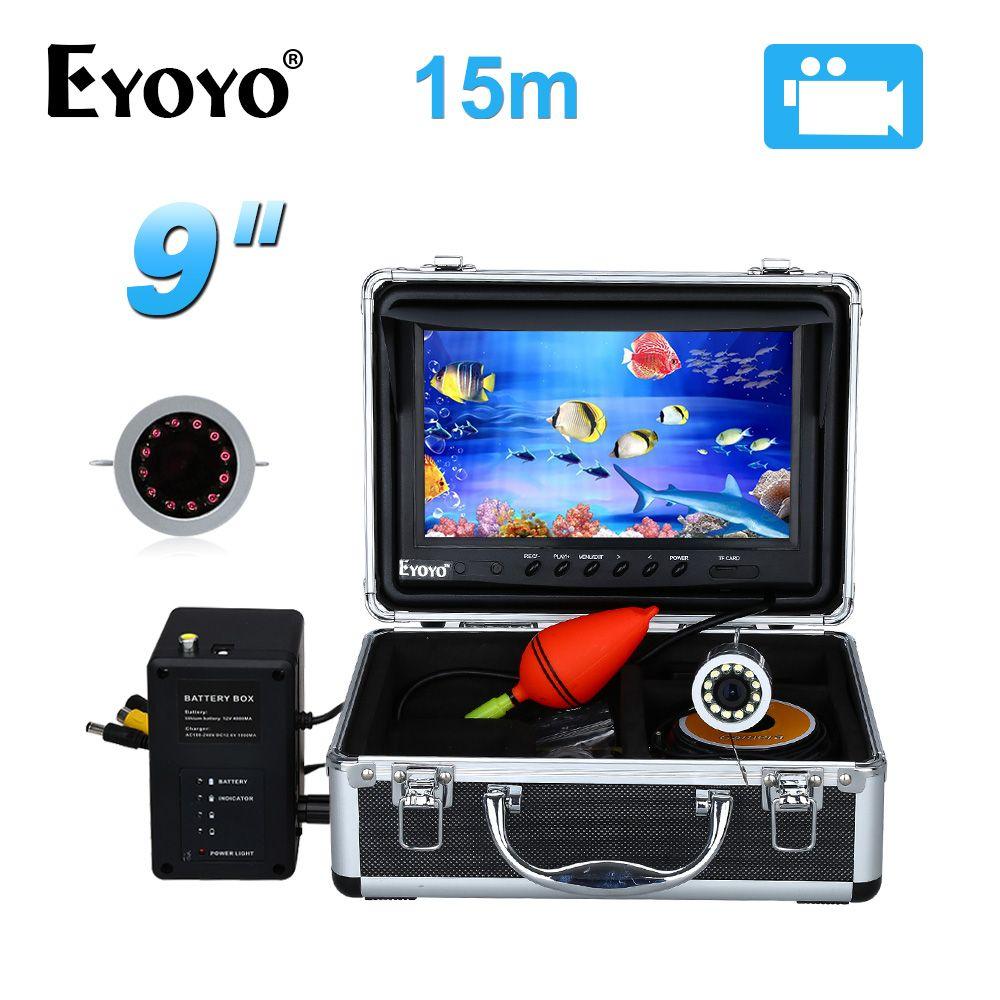 EYOYO 9 Video Fisch Finder HD 1000TVL 15 Mt Voll Silber Unsichtbare Angeln Kamera Unter Wasser Videoaufzeichnung DVR 8 GB Infrarot LED