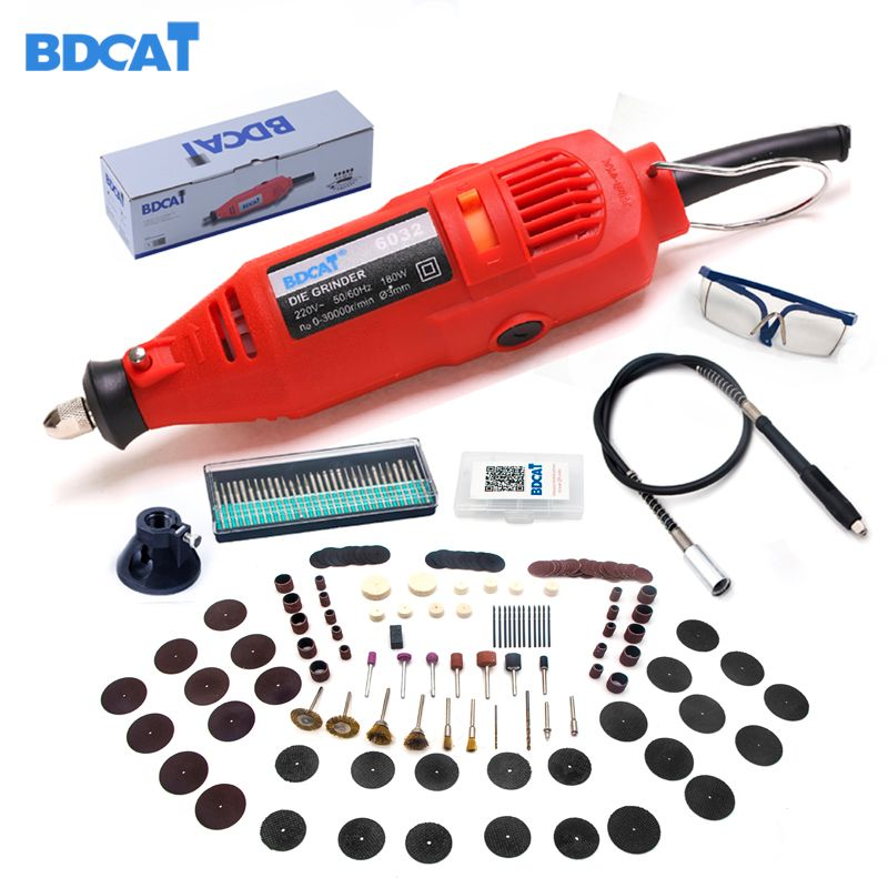 BDCAT 180w Engraver Electric Dremel <font><b>Rotary</b></font> Tool Variable Speed Mini Drill Grinding Machine with 180pcs Power Tools accessories