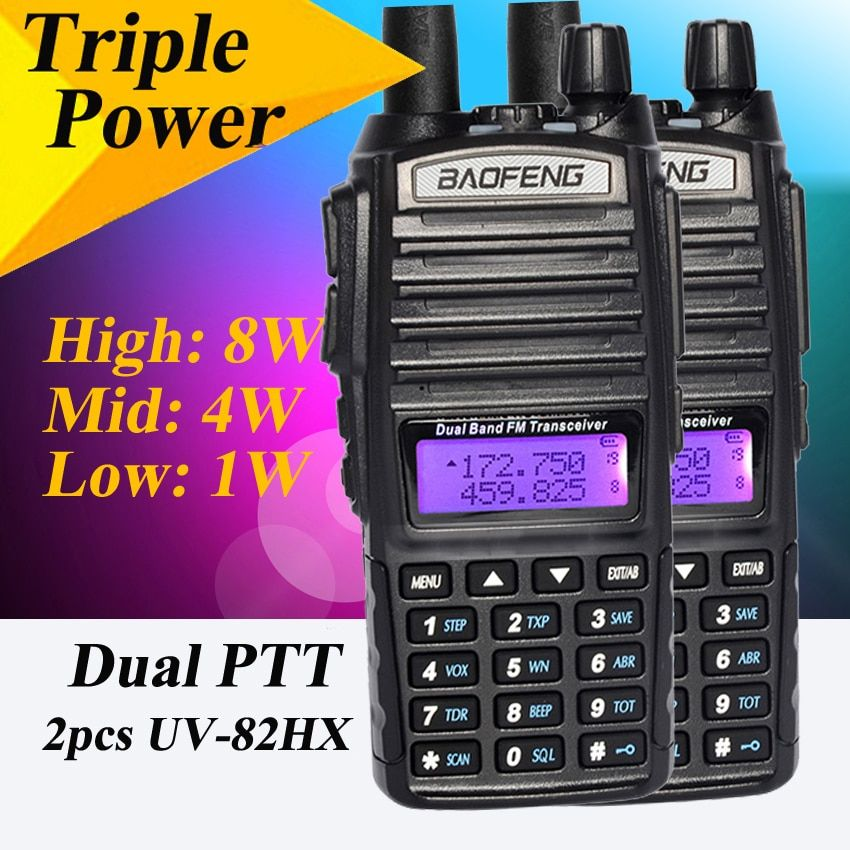 2 Pcs Walkie Talkie Baofeng UV-82HX 8W Portable Radio Walki Talki ,Sister UV-82 Amador Walky Talky Baofeng UV 82 UV82 GT-3