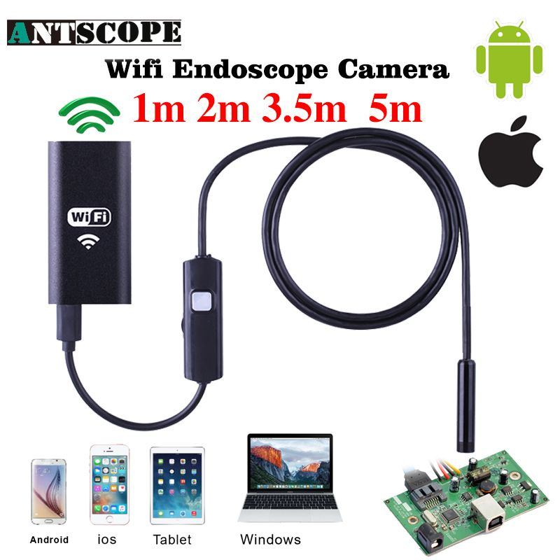8mm Lens Wifi Android Iphone Endoscope Camera 1M 2M 3.5M 5M Waterproof Snake <font><b>Tube</b></font> Pipe Borescope 720P Iphone Camera Endoscope