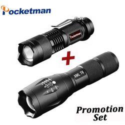 Promosi Set! Hot Sale LED Senter XML-T6 Lanterna Taktis senter + Q5 Mini Torch Zoomable Waterproof Senter Sepeda