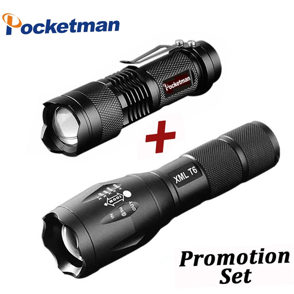 Promotion Set! Hot Sale LED Flashlight XML-T6 Tactical flashlight + Q5 Mini Torch Lanterna Zoomable Waterproof Flashlight Bike