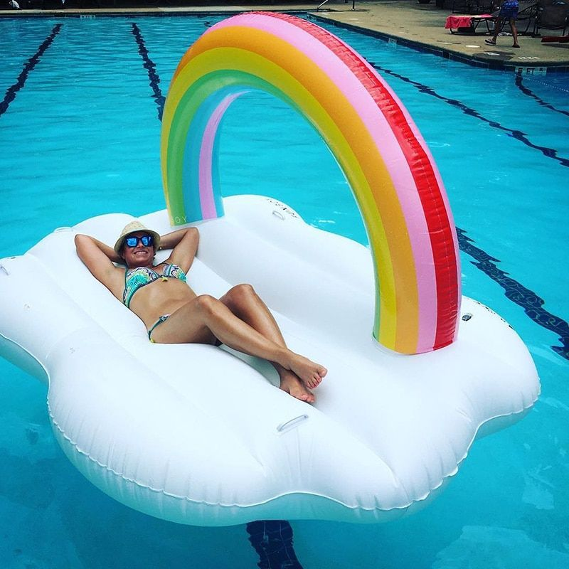 YUYU New arrival rainbow cloud Gaint Inflatable Swimming Float Pool Float for Adult Tube Raft Kid Swimming Ring Summer Water Toy