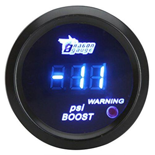 52mm 2in LCD Digital Auto Car -14~29 PSI Turbo Boost Gauge Meter with Sensor Warning Light - Black