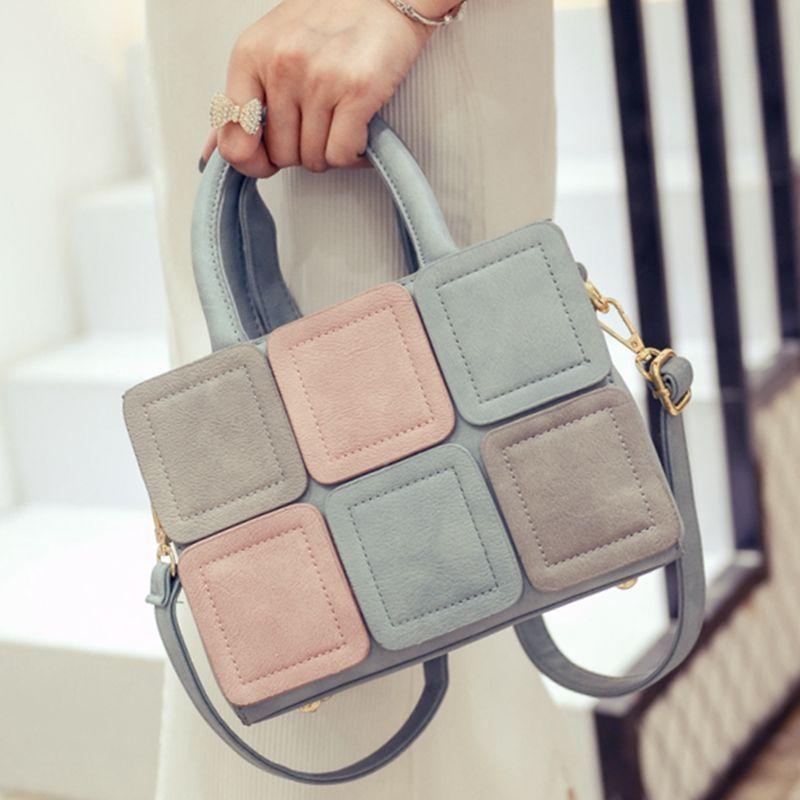 Moda colorida de las mujeres del caramelo del color del bloque pequeño bolso Cross body bolsa de mensajero ocasional hombro femenino bolso lindo