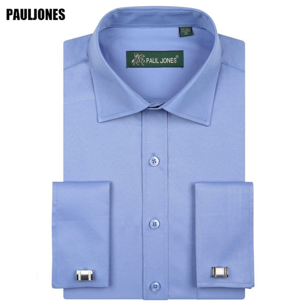5XL manches longues manchette française hommes chemise d'affaires coupe régulière solide robes sociales formelles marque chine importé vêtements PaulJones