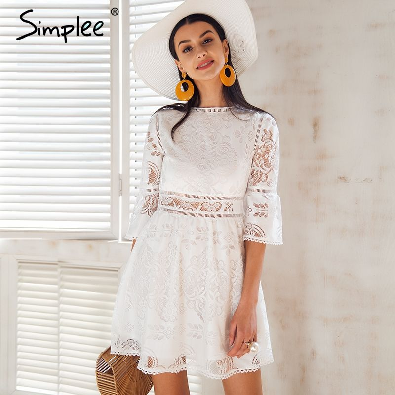 Simplee Hollow out lace dress women Button half sleeve streetwear white dress Spring 2018 causal short dress vestidos robe femme