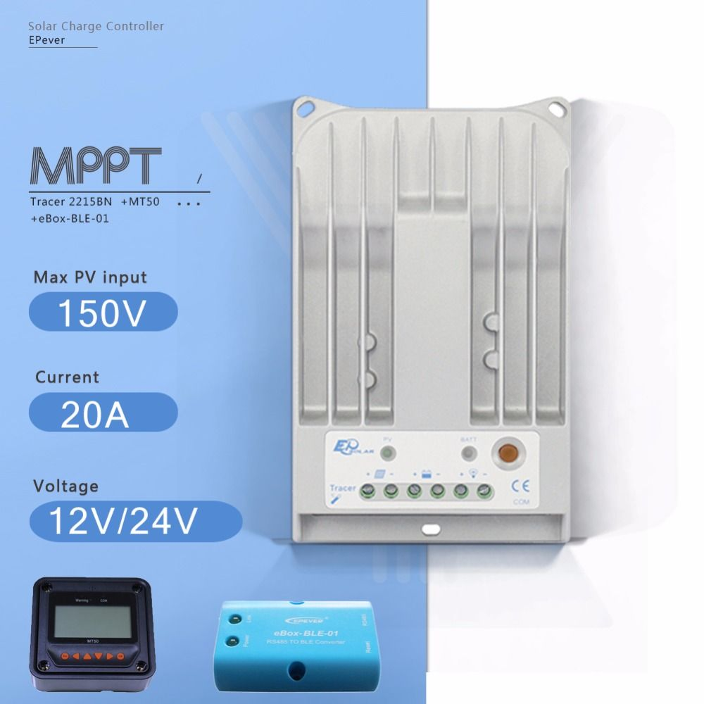 Tracer 2215BN MPPT 20A Solar Charge Controller 12V/24V Auto Solar Panel Battery Charge Regulator with EBOX-BLE and MT50 Meter