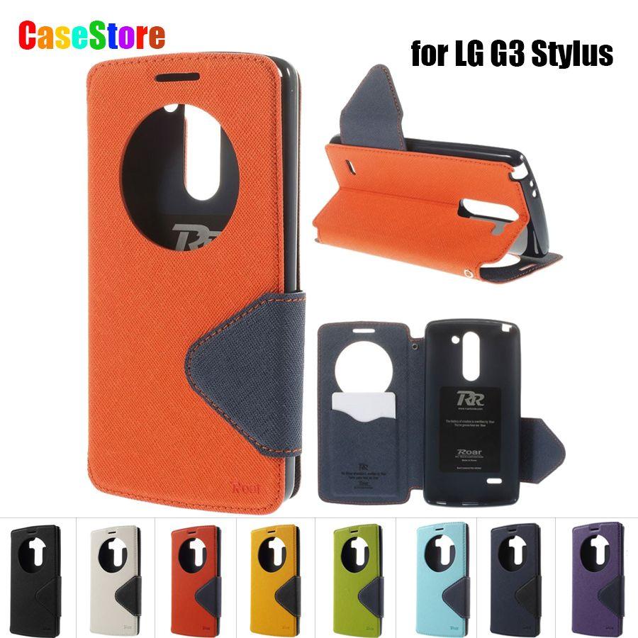 ROAR KOREA for LG G3 Stylus Case Luxury Flip Leather Cover Kickstand Phone Wallet Bag for LG G3 Stylus D690N D690 + Card Holder