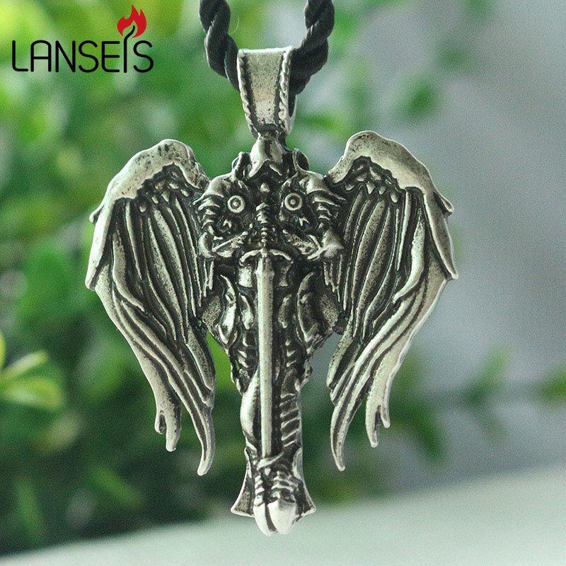 1pcs lanseis dropshipping Celt Cross men necklace Irish Cross With Angel Wings pendant Diablo Archangel protect talisman jewelry