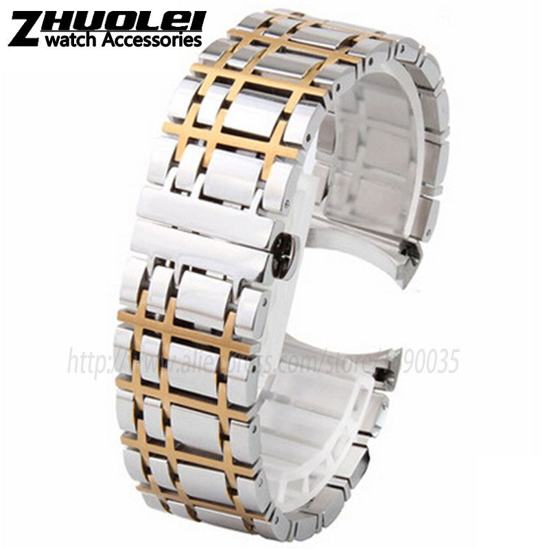 Watchband 16mm 20mm NEW Heavy solid 316L silver|silver with gold Stainless Steel Watch BANDS Bracelets for BU1350 BU1366 BU1360