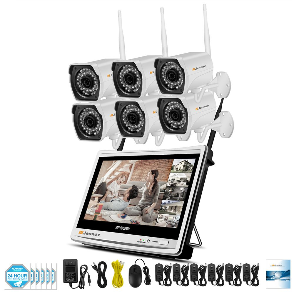 6CH 1080P 2MP Wireless Security CCTV IP Camera System 12 inch LCD Monitor Camara P2P wifi Video Surveillance Kits Set With NVR