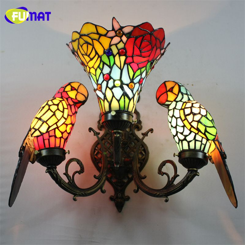 FUMAT Baroque Art Sconce Wall Stained Glass Parrot Wall Lamp Bedroom Bedside Vintage Wall Lamp Tiffany Lamp Parrots Wall Lights