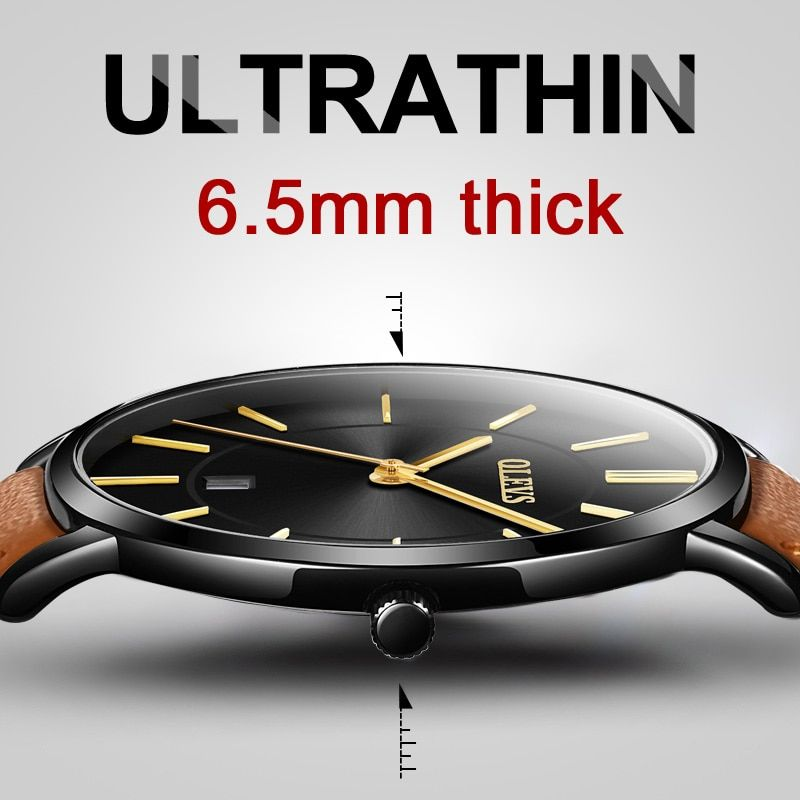 Mens Watches Top Brand Luxury Ultra thin Watch Men Water resistant Leather Quartz Watch Sports Wrist watch Casual montre homme