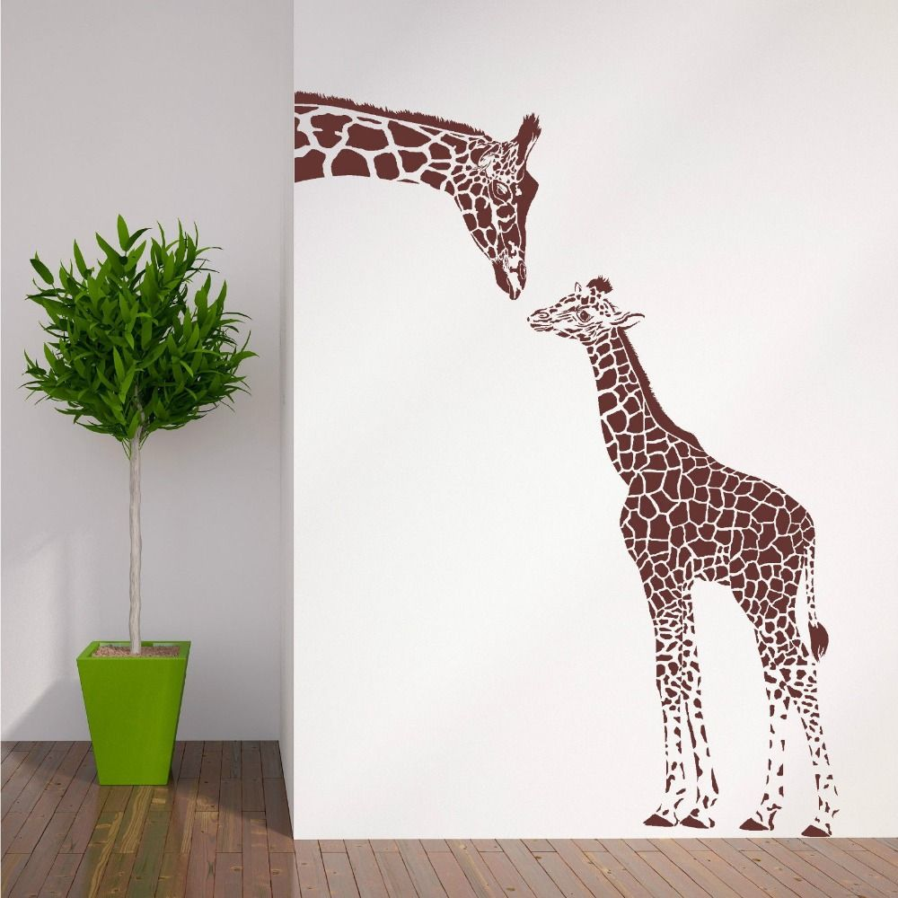 ZN N194 girafe et bébé girafe sticker mural animaux vinyle mur Art pépinière fille Sticker mural Stickers muraux pour chambre d'enfants