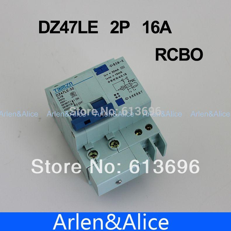 DZ47LE 2 P 16A 230 V ~ 50 HZ/60 HZ fehlerstromschutzschalter mit überstrom und leck RCBO