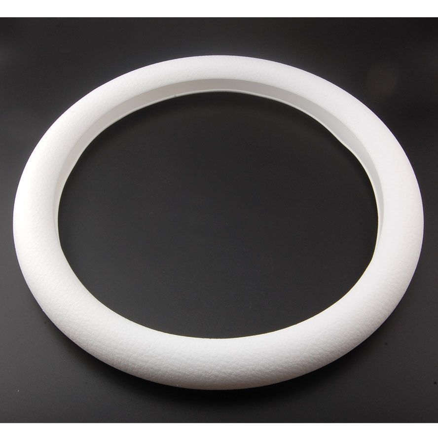 BBQ@FUKA 1pcs Silicone Auto Car Steering Wheel Cover Shell Car styling New White Leather Texture Soft for golf mk7 car trims