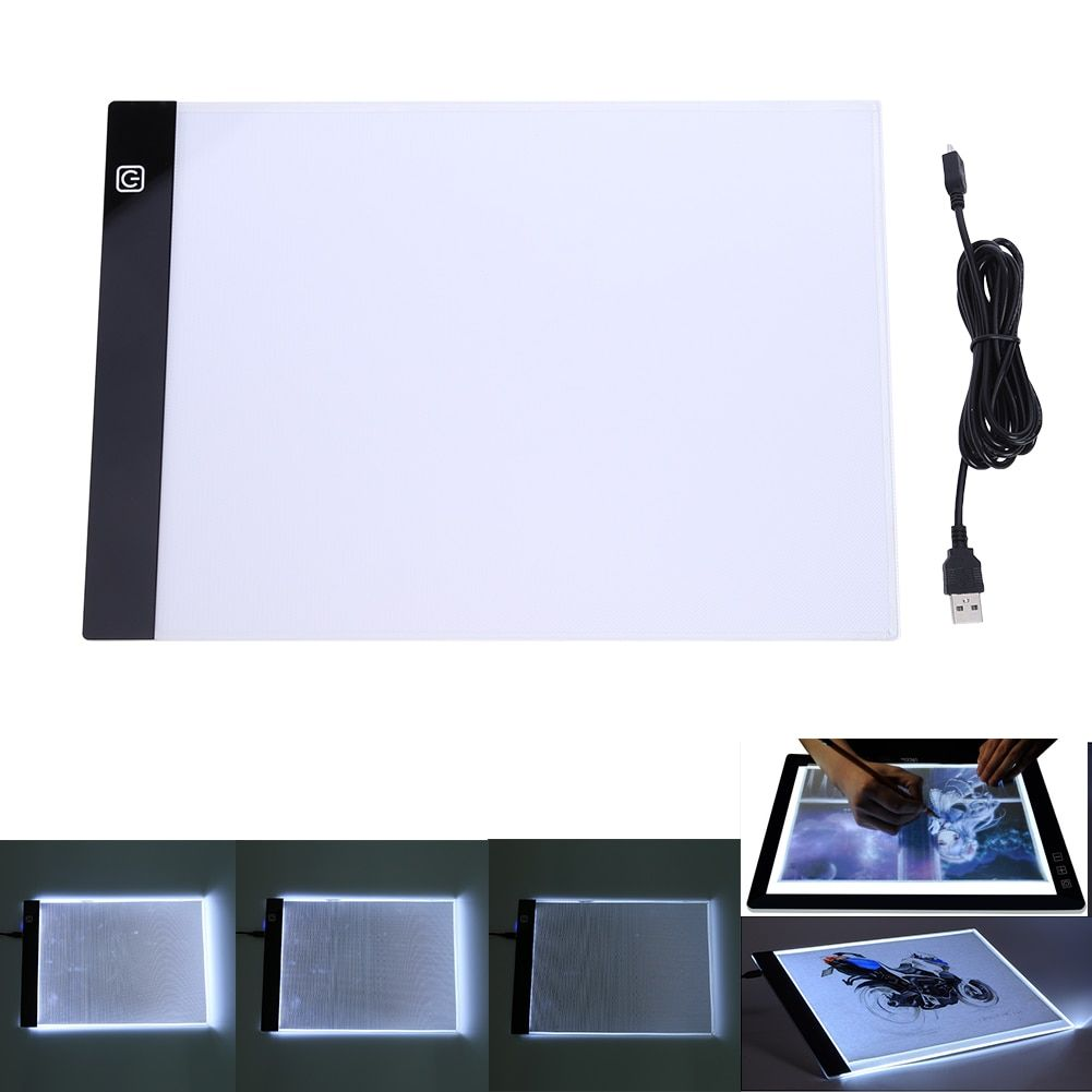 Digital <font><b>Tablets</b></font> 13.15x9.13inch A4 LED Graphic Artist Thin Art Stencil Drawing Board Light Box Tracing Table Pad Three-level