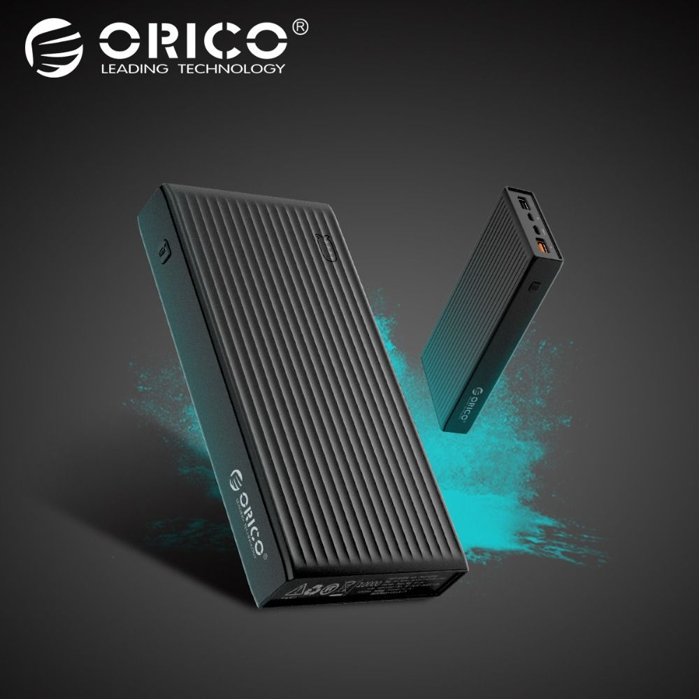 ORICO QC3.0 Power Bank 20000 mah BC1.2 Type-C Two-way Quick Charger 18W Max Output External Battery for Samsung Xiaomi Huawei