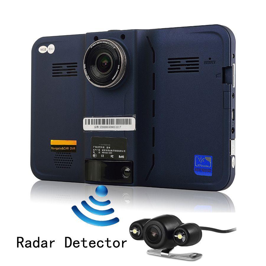 Udricare 7 inch GPS Navigation Android DVR Rear View Dual Camera 16G Radar Detector Allwinner A33 Quad Core WiFi Dash Camera GPS