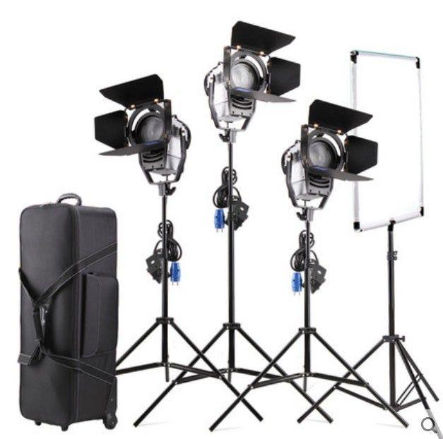 Bicolor regulable 3 unids LED100W LED Estudio de Fresnel del punto de Luz 3200-5500 K + Tripode + bandera Reflector + bolsa de Transporte para el Estudio de vídeo