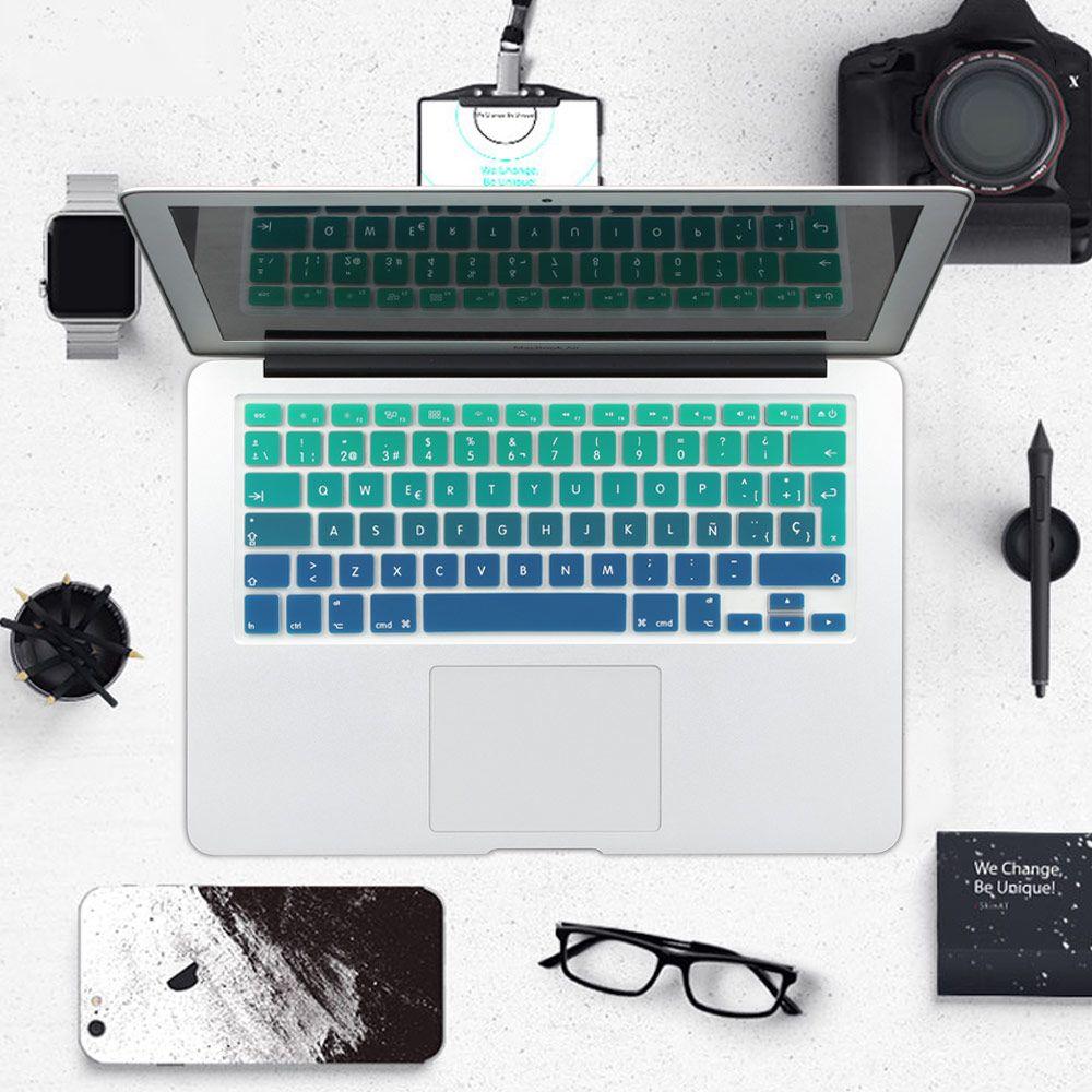 Regenbogen Gradienten Euro Spanisch Silikon-tastatur-abdeckung Haut Aufkleber für macbook air pro 13 15 17 imac 21,5 27 drahtlose tastatur