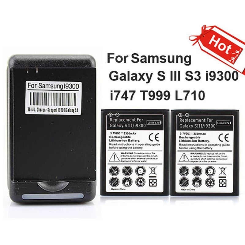 2x2300 mAh Commerciale Batterie + Chargeur Mural pour Samsung Galaxy S III S3 i9300 i747 T999 L710