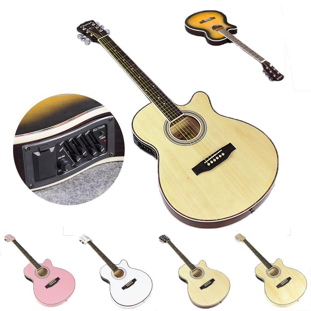 40 zoll Elektrische Akustische 6 String Gitarre Pick up Ausrüstung Stahl Saiten Folk Gitarre Pop Gitarre Beruf Guitarra AGT26