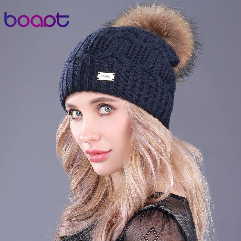 [boapt]Double Layer Knitted Wool Real Raccoon Fur Pompon Hats Female Winter Braid Ladies Cap Headgear For Women Skullies Beanies