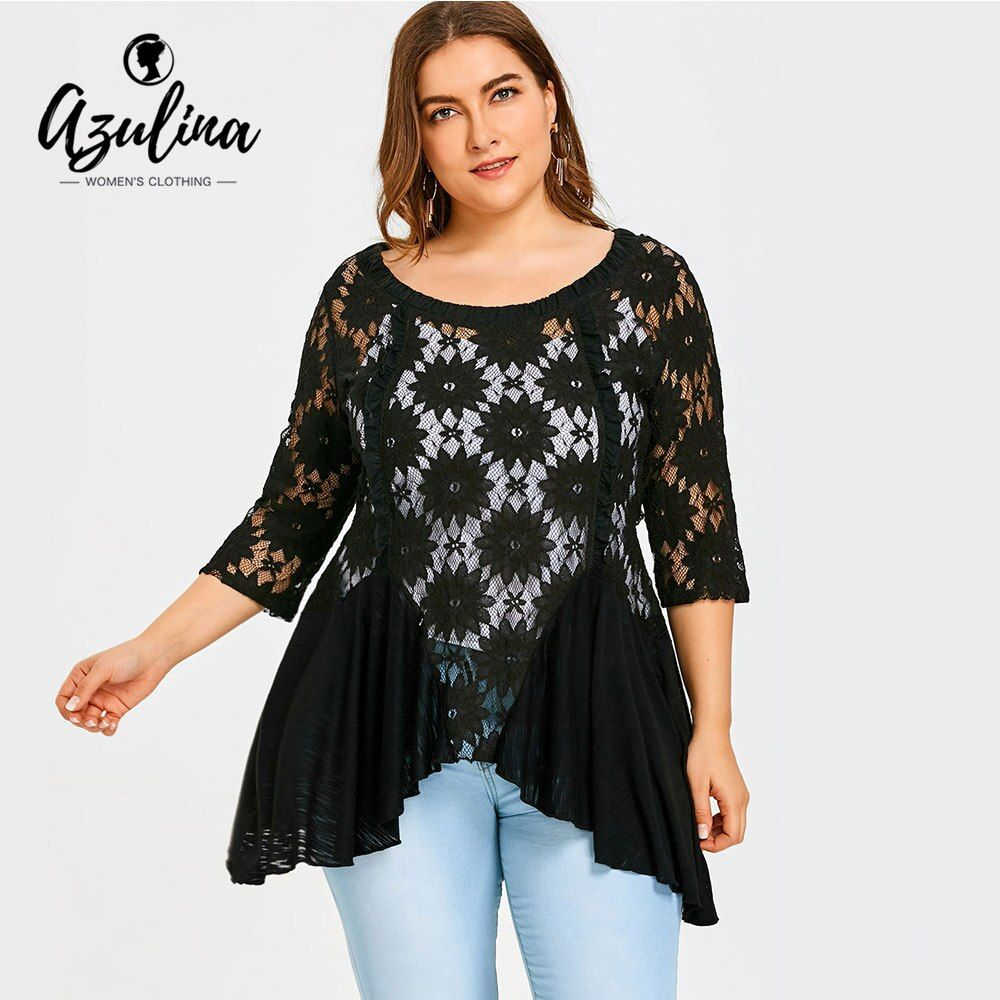 AZULINA Plus Size Floral Lace Blouse With Cami Top Women Blouses Summer Black See-Through Lace Penal Irregular Hem Busas Mujer