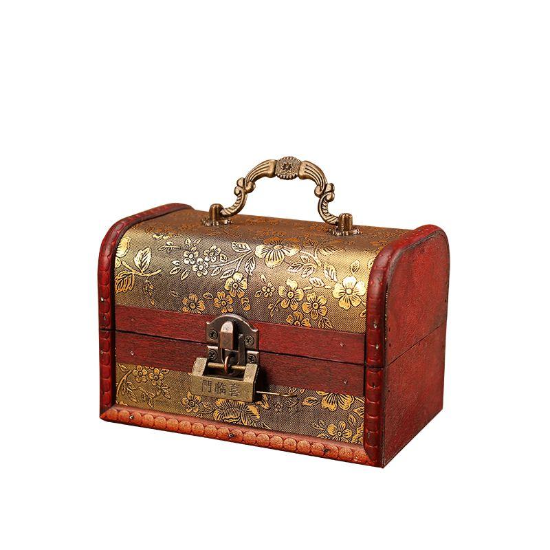 Boîte en bois style Vintage bijoux collier de perles Bracelet cadeau petite boîte zakka organisateur de rangement fait à la main motif cerise dorée