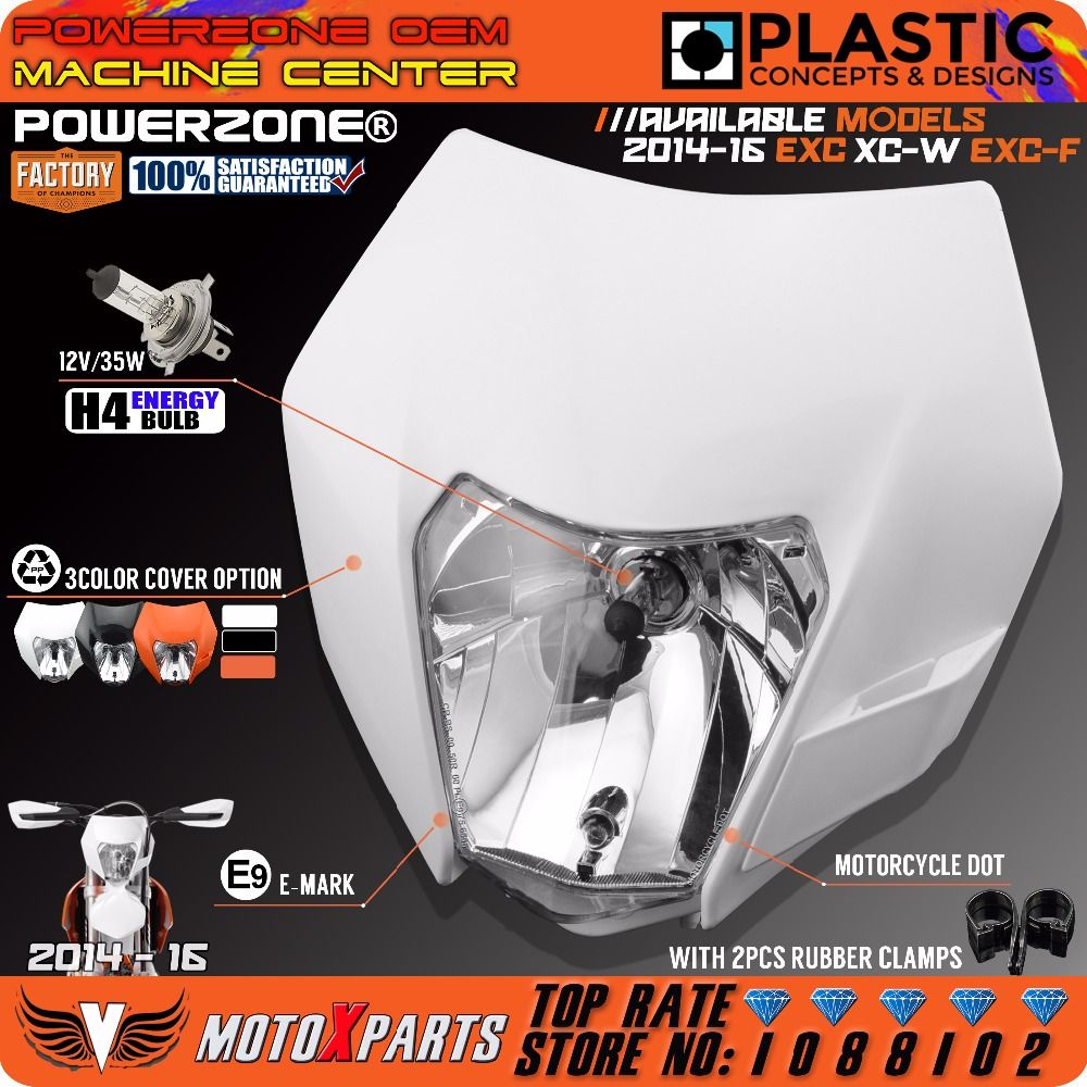 Powerzone Headlight Headlamp For KTM SX F EXC XCF SMR 2014 15 16 Motorcycle Dirt Bike MX Enduro Supermoto With H4 Bulb