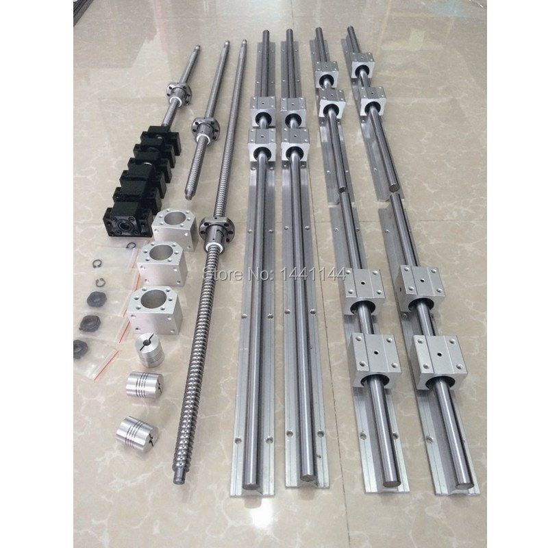 6 set SBR16/SBR20 linear guideway Rail + ballscrews RM/SFU 1605 ball screws + BK/BF12 + nut housing + couplers for CNC parts