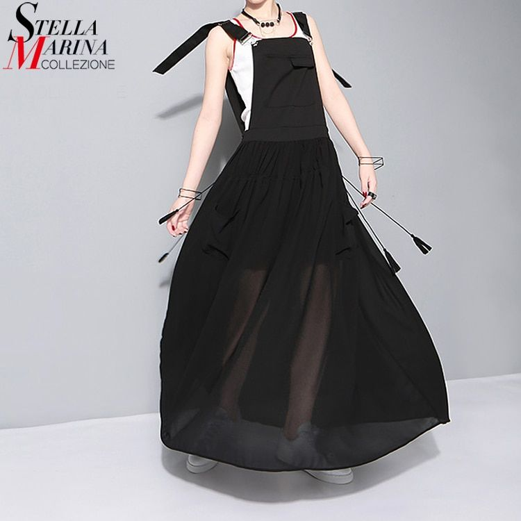 New 2018 Summer Women Long Black Dress Sleeveless Adjustable Straps Pockets Club Dress Ankle Length Casual Gown Tank Dress 1391