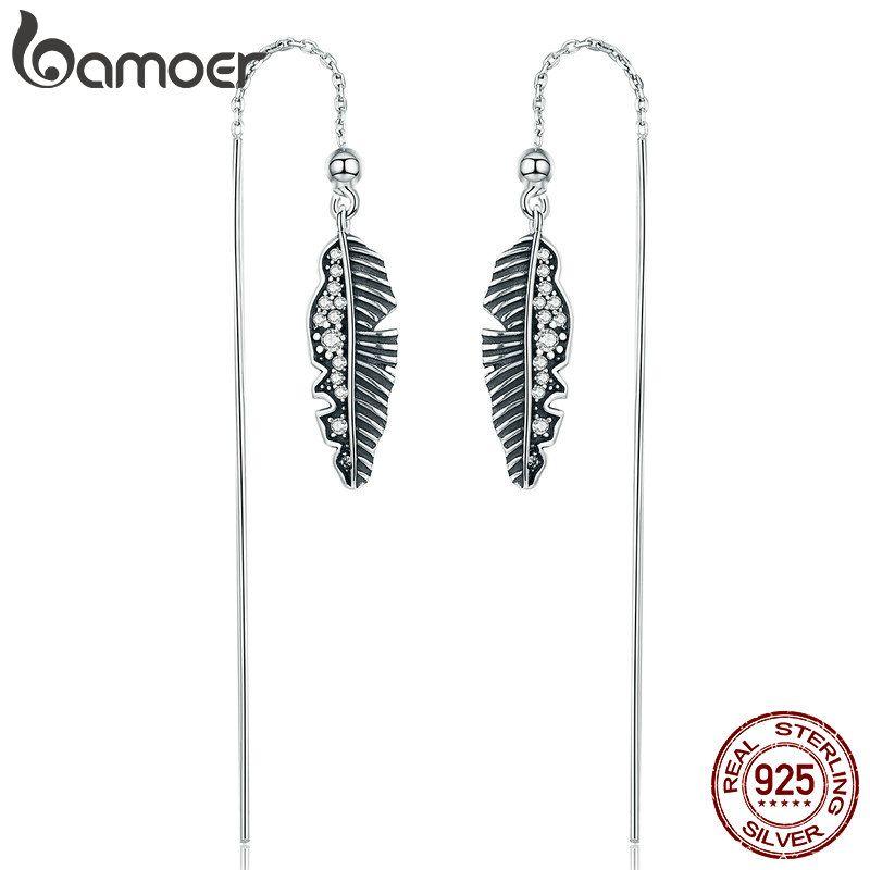 BAMOER 100% 925 Sterling Silver Vintage Punk Feather Palm Leaves Long Drop Earrings for Women Earrings Jewelry Brincos SCE281