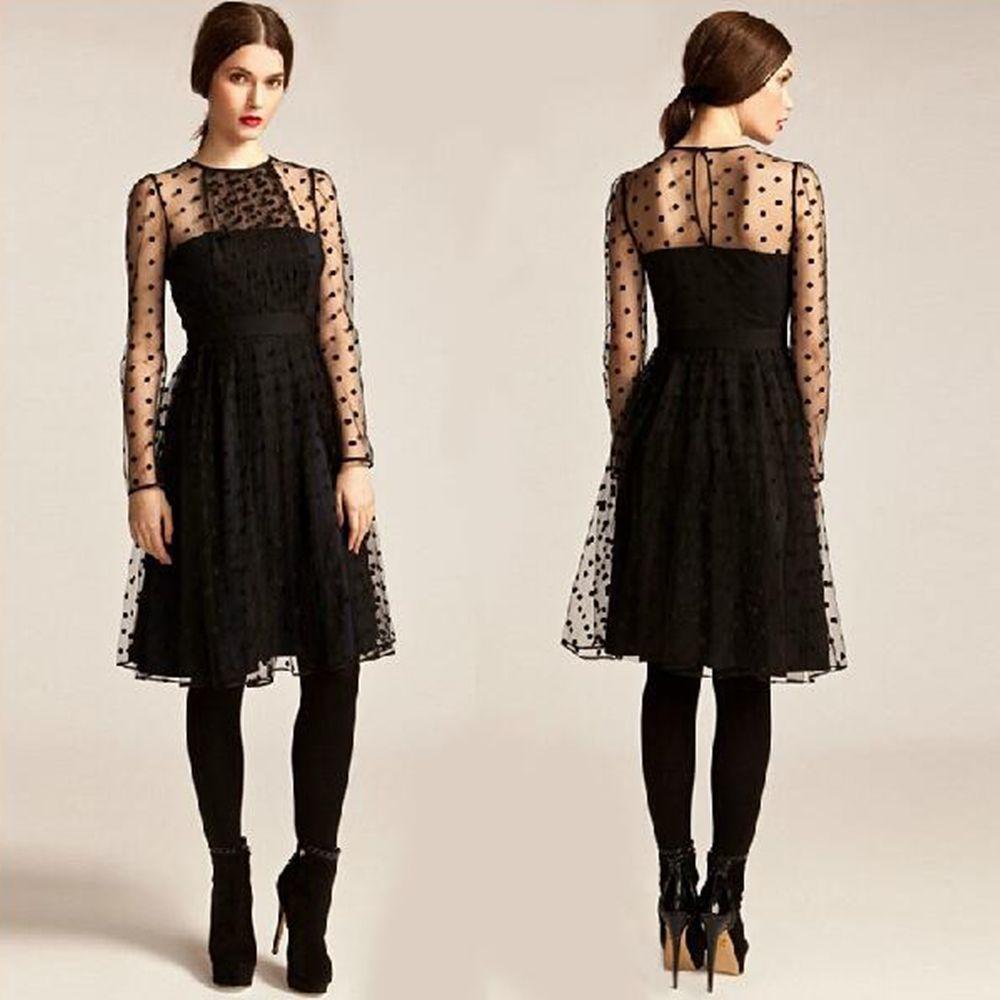 Net Yarn Dresses Party Elegant Polka Dot Dresses Sheer Design Long Sleeve Midi Mesh Transparet Retro Sheer Contrast