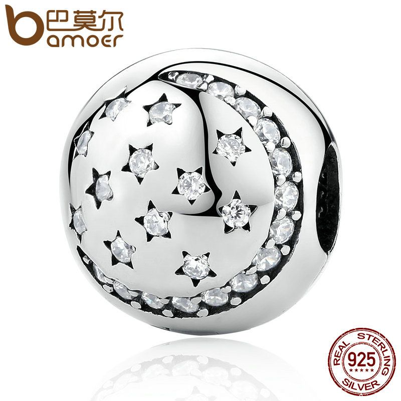 BAMOER 100% 925 Sterling Silver Twinkling Night Clip, Little STARS Clear CZ Charms fit Bracelet DIY Accessories PSC024