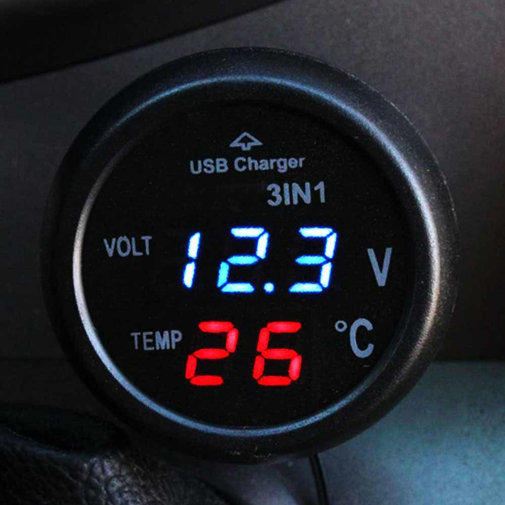 3 in 1 Digital-LED Hochwertige Micro Auto Universal Dual USB Auto Charger12V 24 V USB Thermometer Spannungs Ladegerät Voltmet